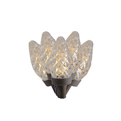 Set Of 100 Faceted Candlelight Clear LED C7 Christmas Lights with Brown Wire