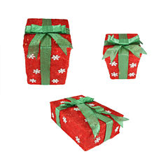 Set Of 3 Red Snowflake Sisal Gift Boxes Lighted Yard Arts