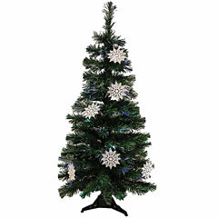3' Pre-Lit Fiber Optic Artificial Christmas Tree With White Snowflakes