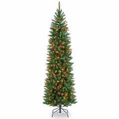 National Tree Co. 7 1/2 Foot Kingswood Fir Hinged Pencil Pre-Lit Christmas Tree