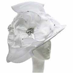 Whittall & Shon Derby Hat Draped Hat With Large Camelia