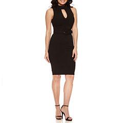 Bisou Bisou SL High Neck Belted Sheath Dress
