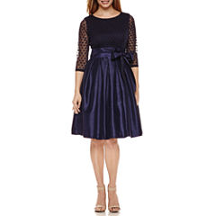 Jessica Howard 3/4 Sleeve Belted Mesh-Dot Fit & Flare Dress-Petites