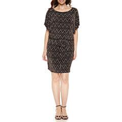 S. L. Fashions Short Sleeve Blouson Dress