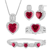 Lab-Created & Cubic Zirconia Heart Silver over Brass 4-pc. Boxed Jewelry Set