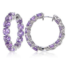 Fine Jewelery Purple Amethyst Sterling Silver Hoop Earrings