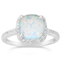 Womens 1/6 CT. T.W. White Opal Sterling Silver Halo Ring
