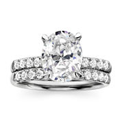 Diamonart Sterling Silver Cubic Zirconia Bridal Ring Set