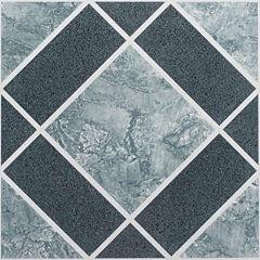 Nexus Light & Dark Blue Diamond Pattern 12x12 Self Adhesive Vinyl Floor Tile - 20 Tiles/20 Sq Ft.