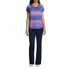 Made for Life™ Short Sleeve Lattice Sublimation Print Tee or Woven Slant Pocket Pants
