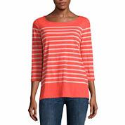 Liz Claiborne 3/4 Sleeve Boat Neck T-Shirt