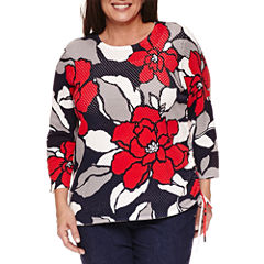 Alfred Dunner 3/4 Sleeve Crew Neck Mesh Pullover Top-Plus