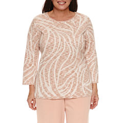 Alfred Dunner Just Peachy 3/4 Sleeve Crew Neck Pullover Sweater-Plus