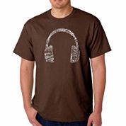 Los Angeles Pop Art Headphones Language Short Sleeve Crew Neck T-Shirt-Big and Tall