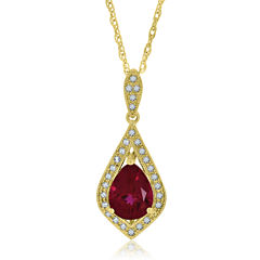 Womens Red Lab-Created Ruby Gold Over Silver Pendant Necklace