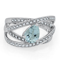 Womens Genuine Blue Aquamarine Sterling Silver Cocktail Ring