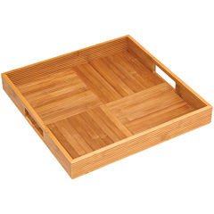 Bamboo Square Ribbed Serving Tray
