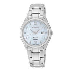 Seiko® Womens Diamond-Accent Stainless Steel Solar Bracelet Watch SUT213