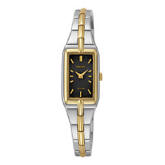 Seiko® Womens Black Dial Two-Tone Stainless Steel Solar Bracelet Watch SUP274