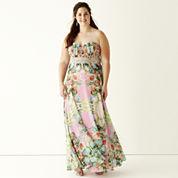 City Triangles® Embellished Waist Floral Print Long Slim Dress - Juniors Plus