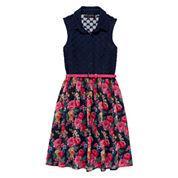 Disorderly Kids® Floral Chiffon Belted Shirt Dress - Girls 7-16
