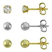 14K Gold Ball 3-Pair Stud Earrings