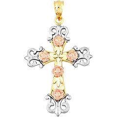 14K Tri-Tone Gold Floral Cross Charm