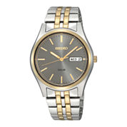Seiko® Mens Gray Dial Two-Tone Stainless Steel Solar Watch SNE042