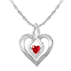 Love in Motion™ Lab-Created Ruby & Diamond-Accent Sterling Silver Heart Pendant Necklace