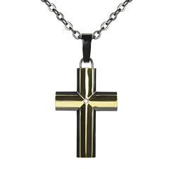 Mens Diamond-Accent Two-Tone Cross Pendant Necklace