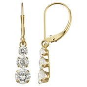 14K Yellow Gold Triple Cubic Zirconia Drop Earrings