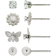 Girls Cubic Zirconia Butterfly & Flower 4-pr. Earring Set