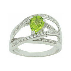 Genuine Peridot & Lab-Created White Sapphire Crisscross Ring