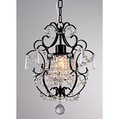 Warehouse Of Tiffany Ava 1-light Black 11-inch Crystal Chandelier