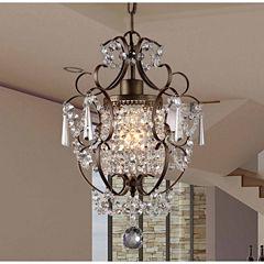 Warehouse Of Tiffany Rosalie 1-light Antique Bronze 11-inch Crystal Chandelier