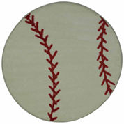 Baseball Round Accent Rug