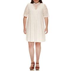My Michelle Lace Flutter Short Sleeve A-Line Dress-Juniors Plus