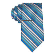J.Ferrar Thin Multi Stripe Tie With Tie Bar