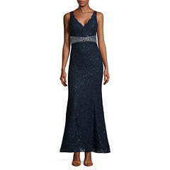 My Michelle Sleeveless Beaded Fitted Gown-Juniors