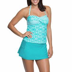 Aqua Couture Teal Bandeaukini  or Solid Swim Shorts