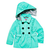 Pink Platinum Girls Toddler Ruffle Trench Raincoat