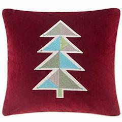 Madison Park Holiday Novelty Geo Tree Square Throw Pillow