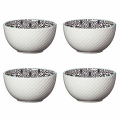 Pfaltzgraff White Black Geo Set of 4