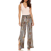 Bisou Bisou Sleeveless Lace Up Bodysuit or Palazzo Pants