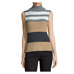 Liz Claiborne Sleeveless Ribbed Turtleneck Sweater-Talls
