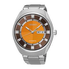 Seiko® Recraft Mens Stainless Steel Orange Automatic Bracelet Watch