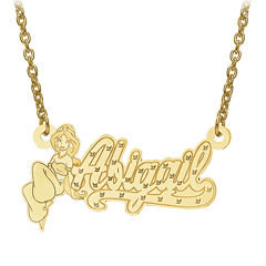 Disney Personalized Kids Diamond Cut Jasmine Name Necklace