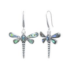 Genuine Abalone Sterling Silver Dragonfly Drop Earrings