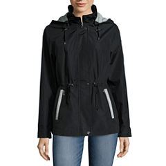 Details Drawstring Anorak Raincoat with Sweatshirt Detail