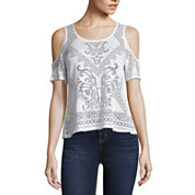 nicole by Nicole Miller Flutter Cold Shoulder Burn Out Top